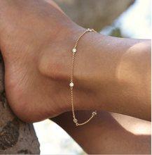 Chaîne de cheville en zircon cubique AAA pour femmes, bijoux de plage en argent sterling 2018, 23 + 5cm, 925