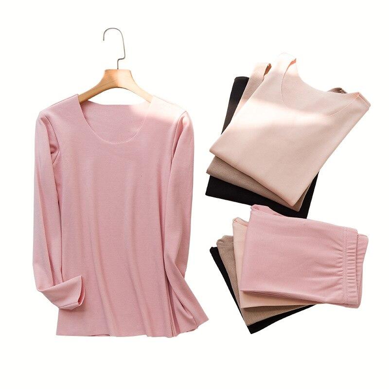 M-XL Long Johns Women Underwear Thermal Long Sleeves Keep Warm Round Neck Winter Seamless Thermo Set Female Slim Bottoming Set