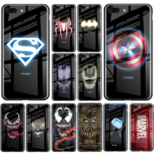 Luxury Batman Marvel Luminous Tempered Glass Case For iPhone XS MAX XR 8 7 6 6s Plus X For Samsung S8 S9 S10 Plus Note8 9 10 Pro real dried flower handmade phone cases for iphone x xs max xr 6 6s 7 8 plus case cover for samsung galaxy s8 s9 s10 plus note8 9