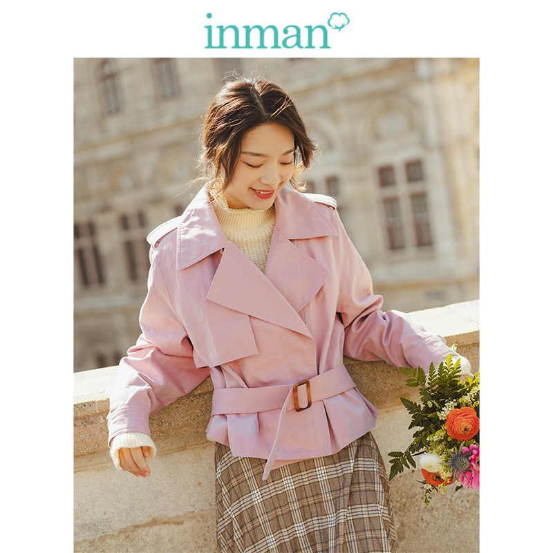 INMAN 2019 осень Новое поступление Мода квадратный вырез минимализм хаки все совпадающие женский короткий костюм пальто