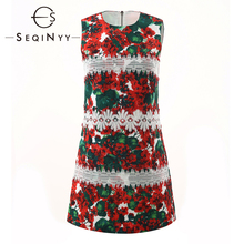 SEQINYY Mini Dress 2020 Summer Spring New Fashion Design Red Hydrangea Flowers Printed White Lace Slim Vest