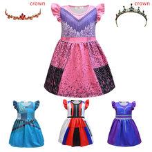 Descendentes evie mal uma ursula meninas vestido de bebê roupas criança princesa traje coroa criança festa de verão cerimônia vestido para a menina