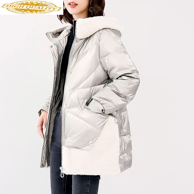 White Goose Down Jacket Women Hooded Long Winter Wool Fur Coat Korean Down Jackets Doudoune Femme Hiver 2020 WF1Z19083