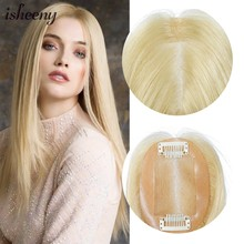 "7x10cm Blonde Topper Wig Human Hair For Women 10""-20"" Breathable MONO PU Base With Clip In Hair Toupee Remy Hairpiece(China)"