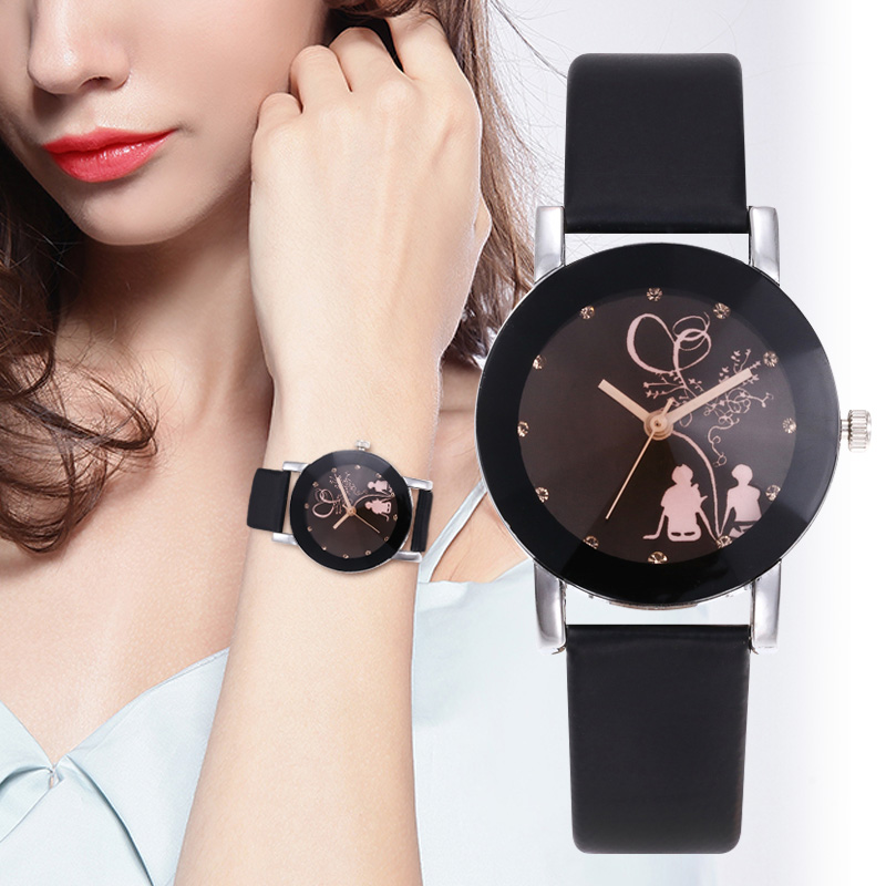 WJ-5350 Classic Simple Couple Watch Ladies Women Watches Diamond Lover's Watches Men Leather Quartz Wristwatch Clock Gift Reloj