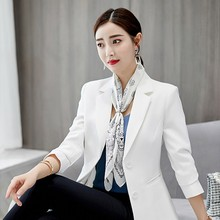New Women Solid Blazer Jackets Female Korean Long Sleeves Fashion Slim Blazer Black White Women Blazer Offie Lady Outwear Coats