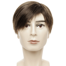 цены 6 Inch Straight Synthetic Male Wig Dark Brown Color Short Wigs for Men with Side Bangs Heat Resistant Fiber