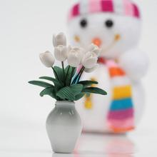 1:12 Doll House Mini Accessories Model Clay Beautiful White Tulip Cute Toy For Children