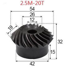 2pcs 2.5M-20 Teeths Inner Hole: 12mm Precision Spiral Bevel Gear Spiral Bevel Gear