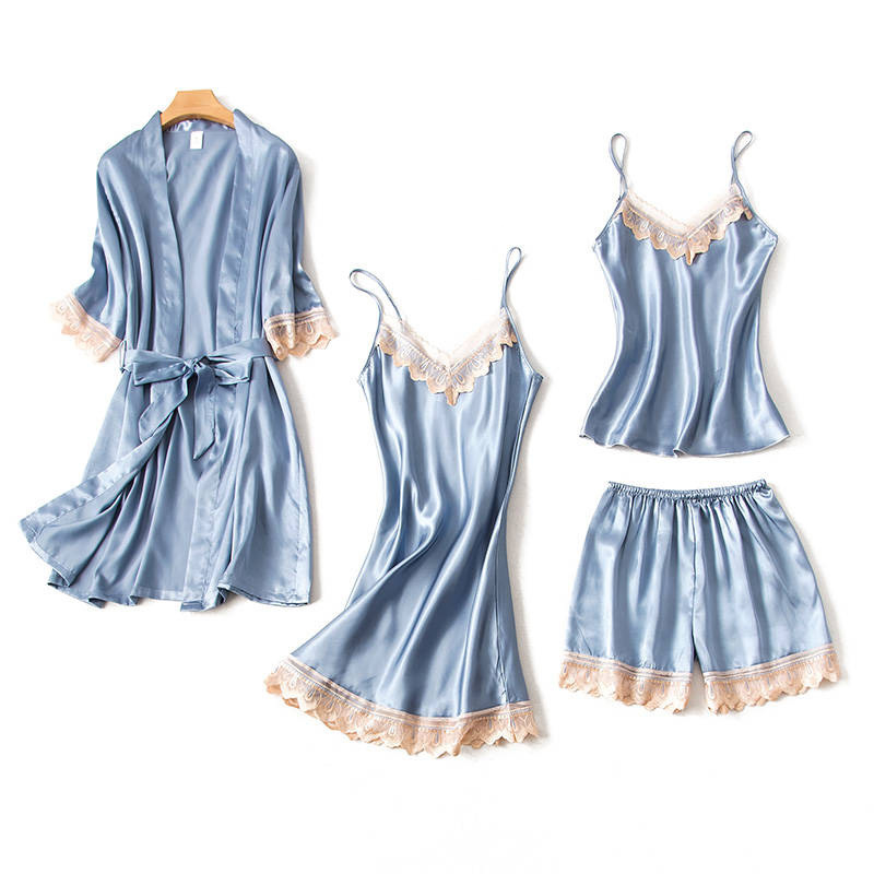 Sexy Silk Nightgowns 4 pieces Women Pajama Set Women Sleepwear Robe Set Warm Bathrobes Lounge Set Sexy Nightwear Night Dress