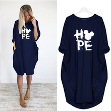 Letter Print Hope Mickey Pocket Loose Dresses Vintage Fall Dress Clothes Woman Party Casual Dresses Women Plus Size Dress plus size letter print pocket design coat