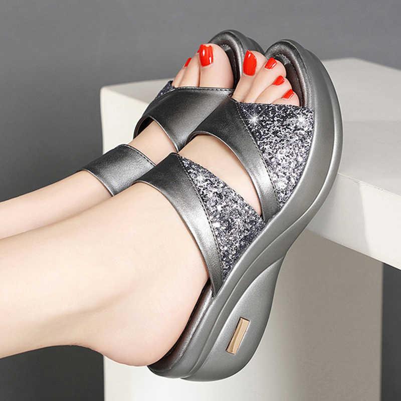 נשים נעלי קיץ פלטפורמת טריז בוהן פתוח מזדמן נעל גבירותיי צבע ערבוב שקופיות חוף נעלי אישה zapatos de mujer