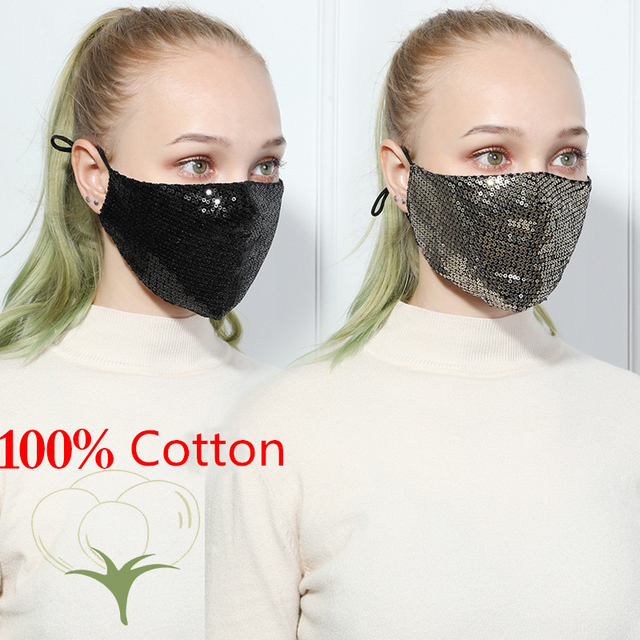 Fashion Sequin mask Cotton Keep Warm anti-haze Masks Shining Party unisex Breathable Mouth Respirator Washable Face Cover Masks 2