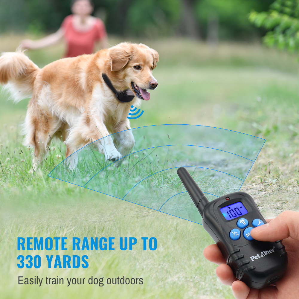 PETRAINER 300M Remote Control and Rechargeable Electric Dog Collar for Shock and Vibration with LCD Display 1
