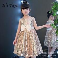 Блестящие платья для девочек it's yiiya b097 платье цвета