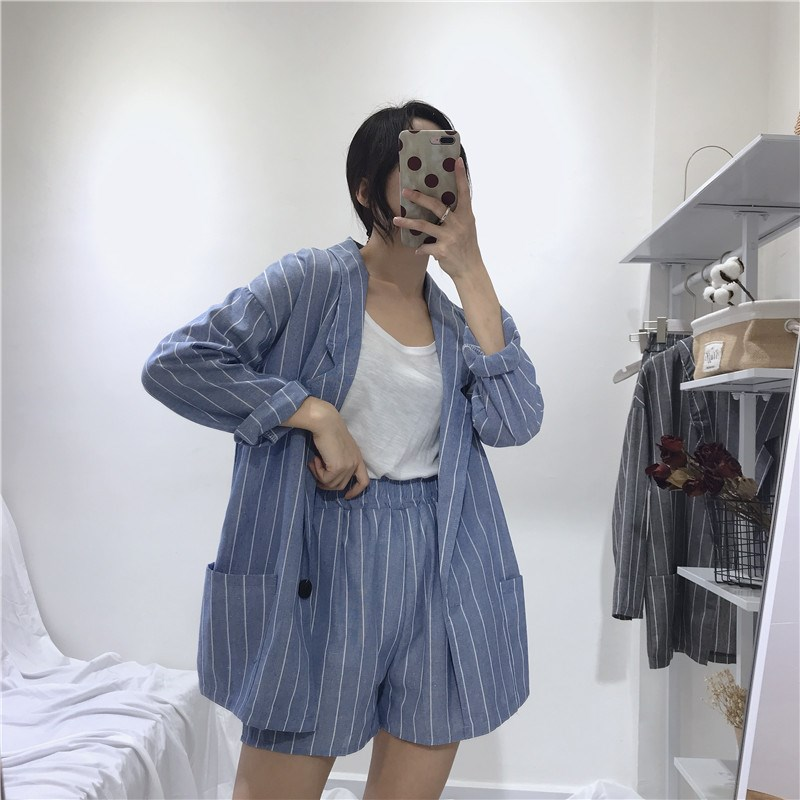 Nice Summer Women Suits Button Thin Striped Blazers Coats Long Sleeve Loose Suit Jacket Elastic Waist Shorts Two Piece Suits