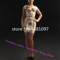 Sexy Latex Rubber White Nurse Dress with Apron Latex Uniform Set (no cap) sexy halloween costumes Custom Made
