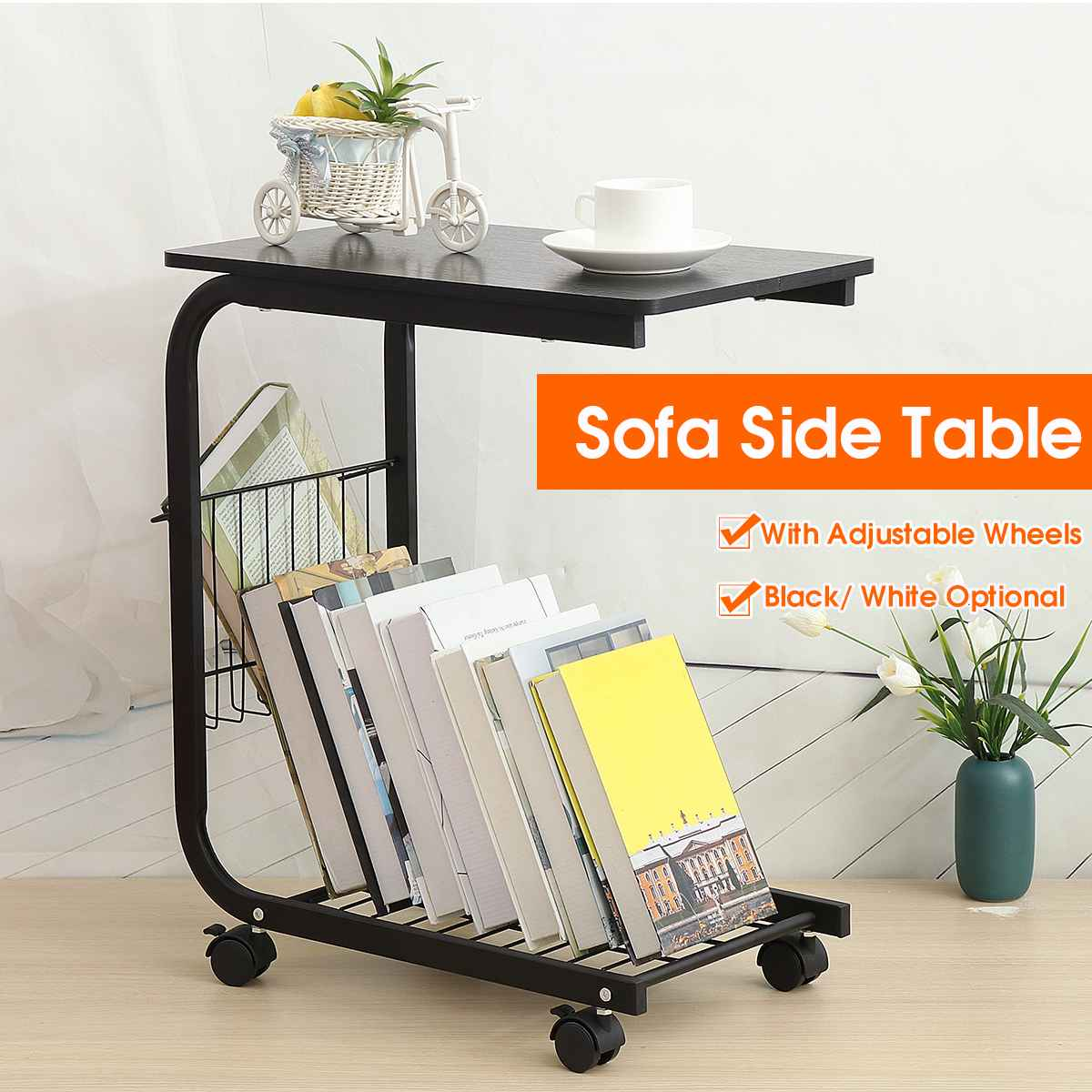 Black/White Adjustable Desk With Detachable Wheels Sofa Side Coffee Table Mobile Side Black Willow Tables Wholesale