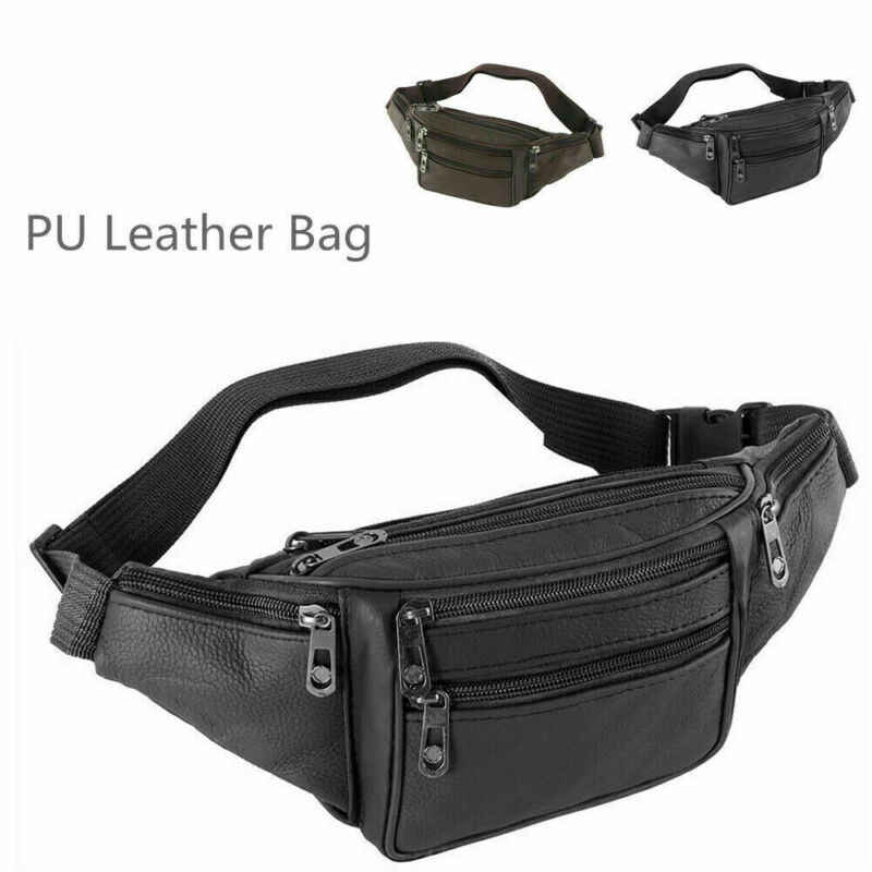 Male Leather Sports Runner Waist Bum Bag Men's Running Jogging Belt Pouch Zip Fanny Pack Travel Hip Purse Phone Pocket