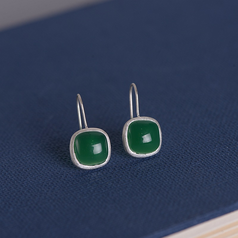 FNJ Square Green Agate Earrings 925 Silver Original Pure S925 Sterling Silver Drop Earring For Women Jewelry