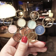 Korean Hairpin For Girls Hollow Out Geometry Round Fringe Hair Clips Concise Gold Metal Hairgrips Vintage Oil Drip Ornament