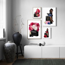 Vogue Women Paris Perfume Lipstick Flower Nordic Posters And Prints Wall Art Canvas Painting Wall Pictures For Living Room Decor fashion paris perfume red lips flower wall art canvas painting nordic posters and prints wall pictures for living room decor