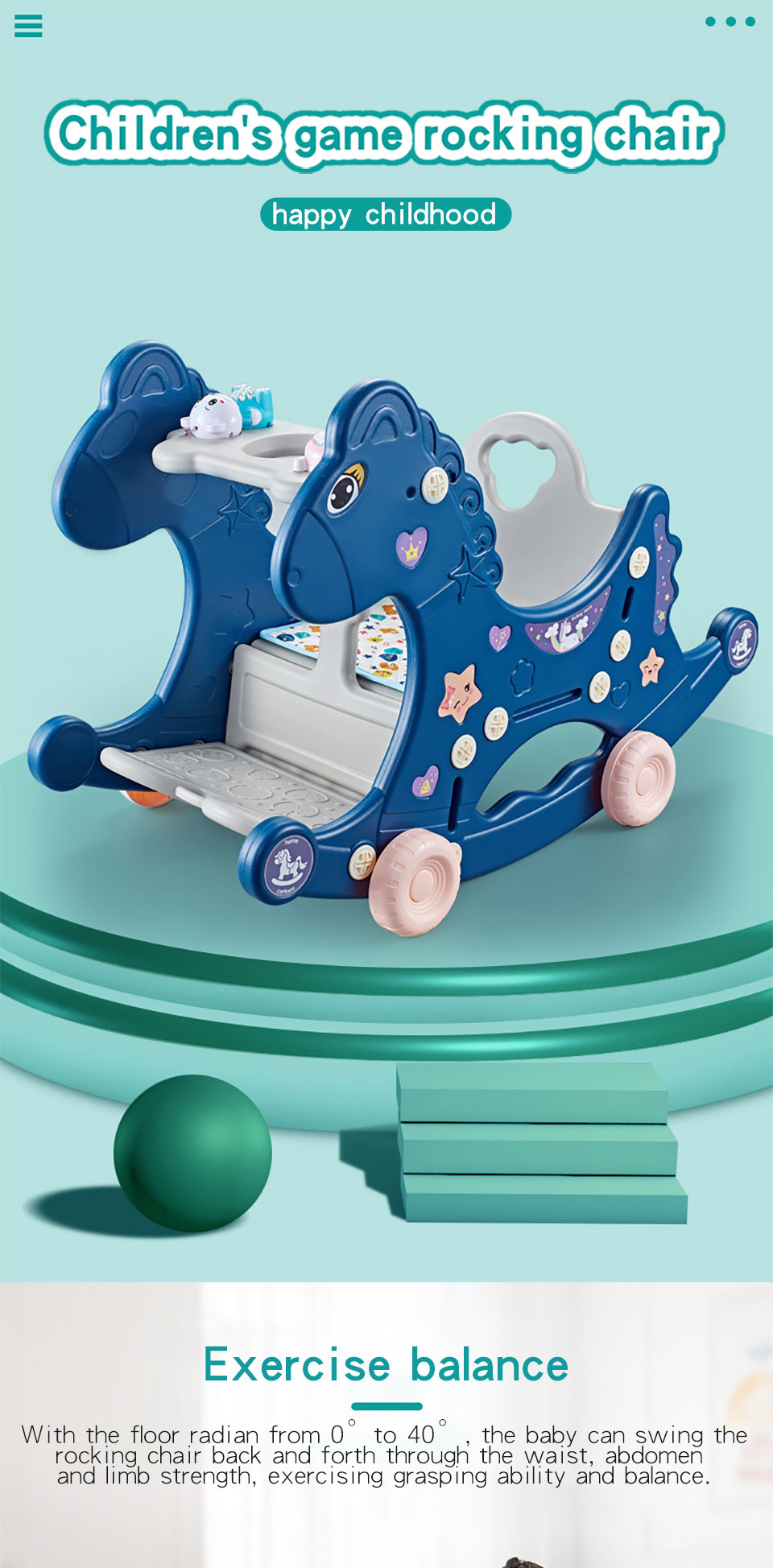 H0326b19692fc48308966e50a0e60fc10U Ruizhi Children Three-In-One Plastic Rocking Chair Baby Indoor Multi-Function Rocking Horse With Music Kids Sport Toys RZ1197