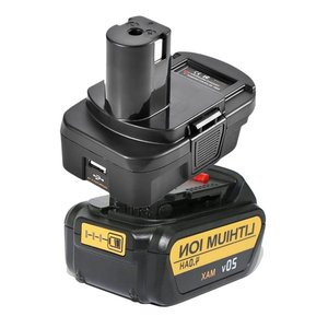DM18RL konwerter baterii Adapter USB DM20ROB dla RYOBI konwersji DEWALT 20V Milwaukee M18 do 18V akumulator