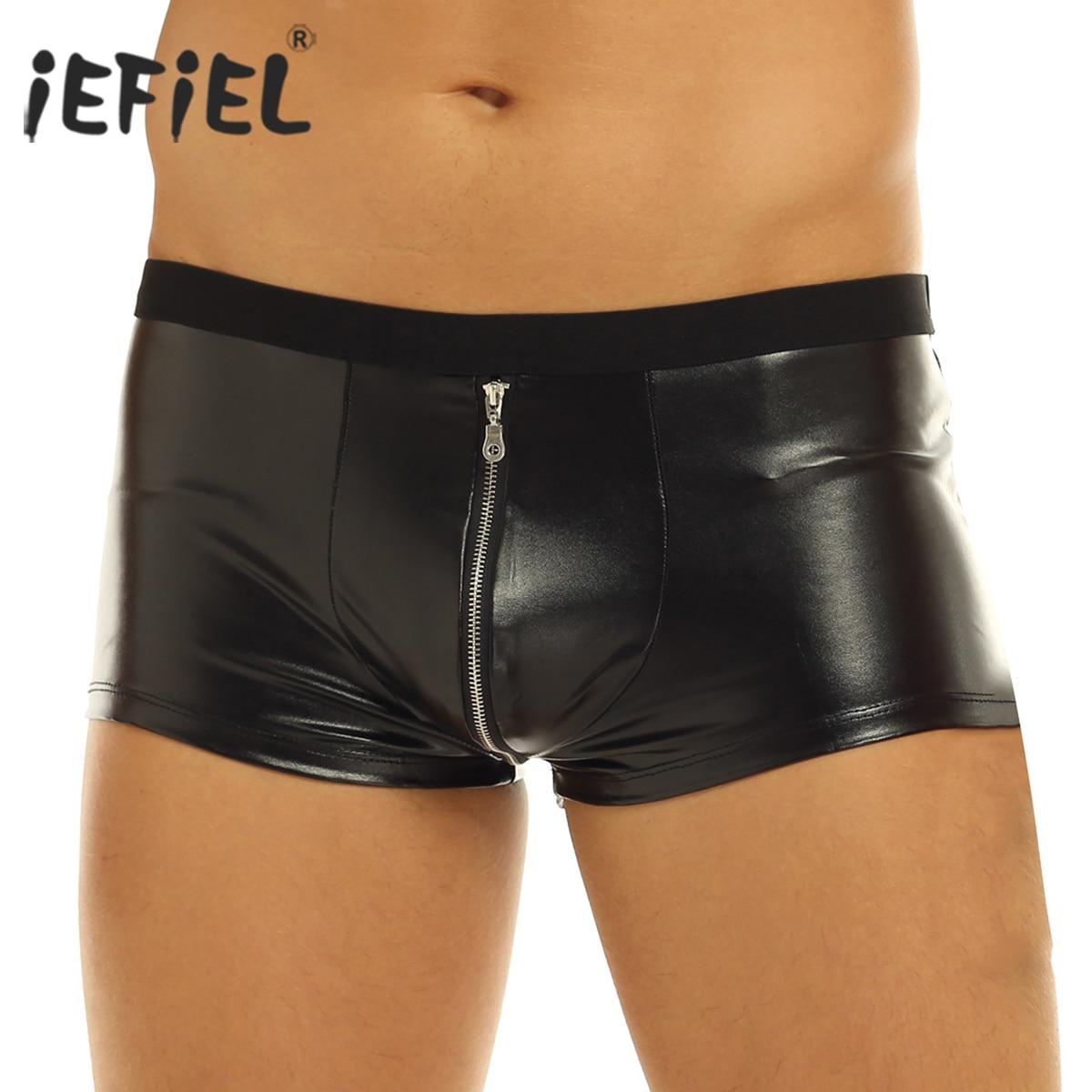 Iefiel Panties Underwear Jockstraps Faux-Leather Low-Rise Lingerie Boxer-Shorts Bulge-Pouch
