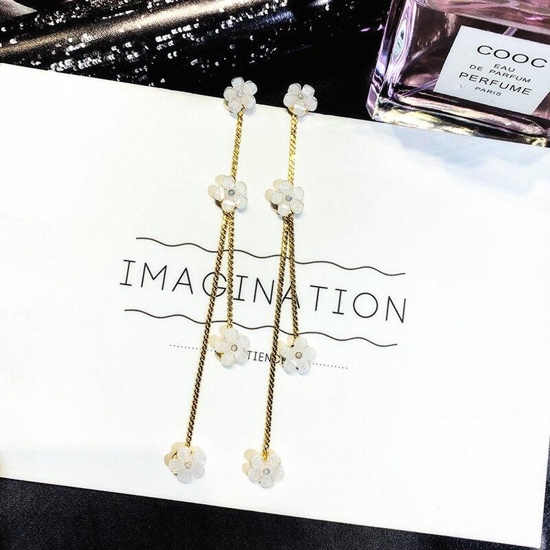 S925 Silver Needle Korean Simple Flower Earrings aretes de mujer modernos 2018  tassel earrings korean