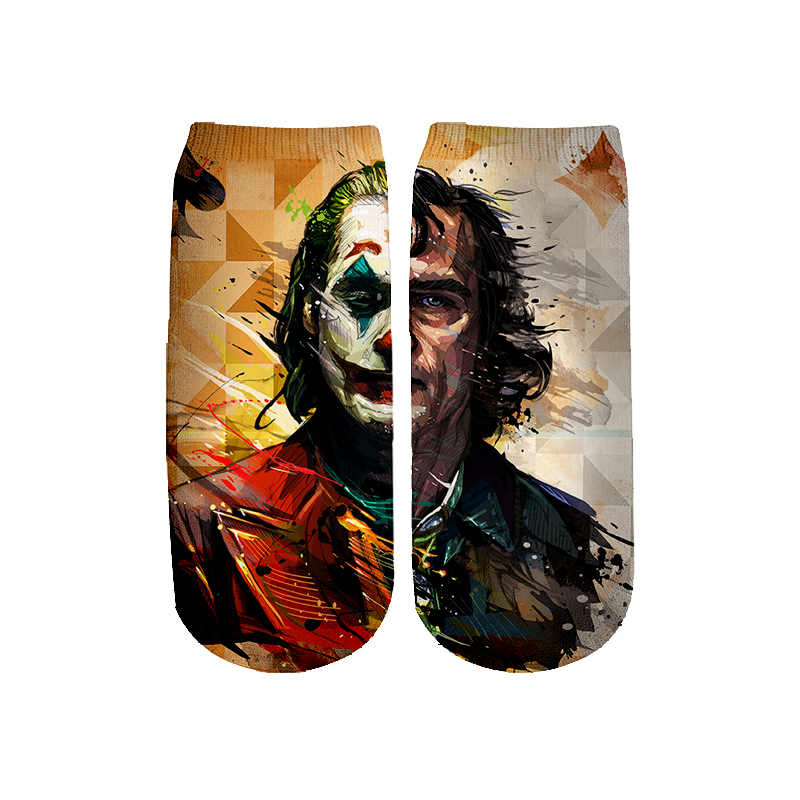 Halloween Cosplay 2019 New HAHA Joker Socks Harajuku 3d Skull Print Men Women Funny Skull Socks Summer Spring Galaxy Ankle Sock