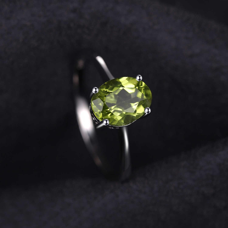 Anillo de mujer anillo con auténtico peridoto verde 925 plata oval dedo joyas anillo de plata