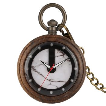 Royal Wooden Ebony Quartz Pocket Watch Men's Clock Environmental Protection Natural Ecological Women's Woody Unique Watch Gifts