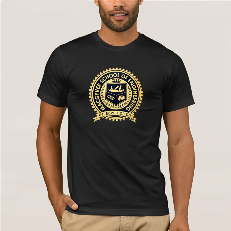 Macgyver School of Engineering Improvise or Die Funny 80/'s TV Show Men/'s T Shirt