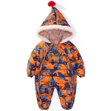 Kids Down Cotton Jumpsuit Newborn Rompers Winter coat Thick Boy Snow Overalls Girl Baby