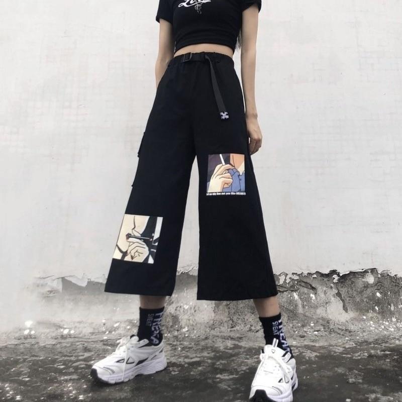 HOUZHOU Korean Style Cargo Pants Women Oversized Wide Leg Pants for Women Jokers Palazzo Pants for Women Summer Women Capris