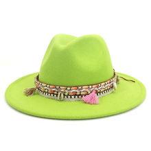 Шляпа федора в западном стиле для мужчин и женщин однотонная