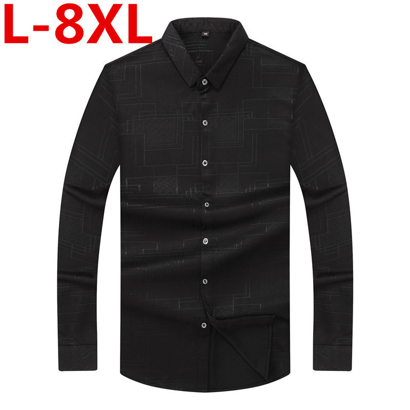 Plus Size  8XL 7XL 6XL 5XL  Casual Shirts Single Breasted Anti-Pilling Men Shirts Business Casual Shirts Spring And Autumn
