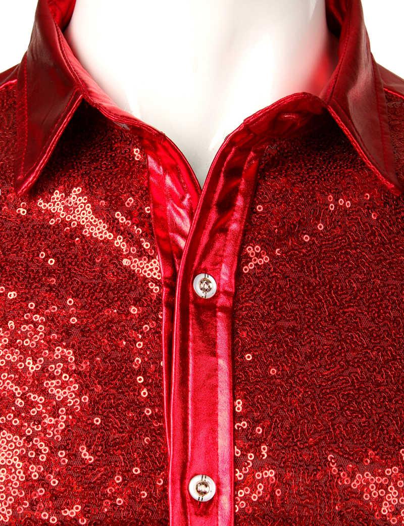 Rode Sequin Metallic Patchwork Shirt Mannen 2019 Nieuwe 70's Disco Nachtclub Sparkle Shirt Heren Halloween Party Stage Prom Kostuum 2XL