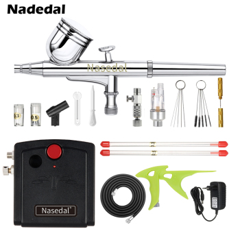 Nasedal Dual-Action Mini Airbrush Compressor Kit 0.3mm Air brush for Nail Art Cake Decoration Makeup Tattoo Model Car Paint