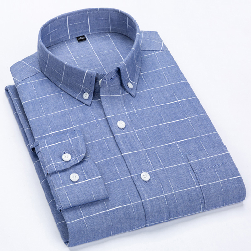 Men's Plaid Shirt Turn-Down Button Collar Long Sleeves Slim Fit Shirt Fashion Smart Casual Dress Shirts Casual Men Clothes