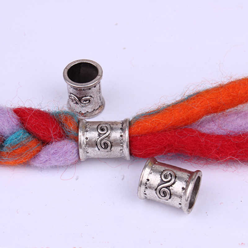 10 piezas Retro aleación vikingo trenza de pelo dreadlock barba diy cuentas anillos tubo para accesorios para el cabello