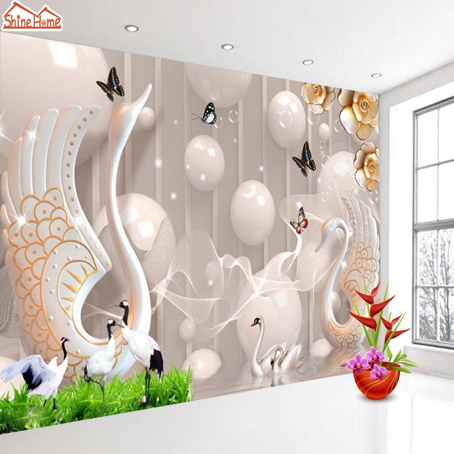 Elegan Swan Bola 3d Wallpaper Untuk Dinding Ruang Tamu Kertas Kertas Dekorasi Rumah 3d Wallpaper Kupas Dan Tongkat Kertas Lukisan Dinding Wallpaper Aliexpress