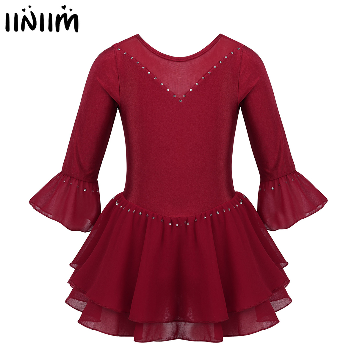 Kids Girls Gymnastics Dancewear Shiny Flare Sleeves Rhinestone Figure Skating Dress Ice Skating Ballroom Dance Competition Dress
