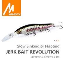 MEREDITH – leurre méné rigide coulant ou coulant, appât artificiel idéal pour la pêche au bar ou au brochet, avec Wobbler, profondeur de 0 à 3m, 110mm