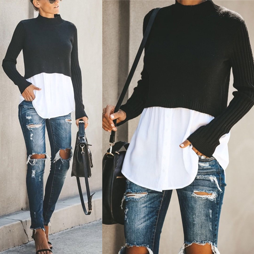 Button Sweater Shirt Long-Sleeve Loose Round-Neck Women Casual IK88 Blouse Tops Splicing