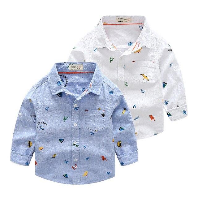 Nouveau printemps et automne tout autour garçon petit haut enfants chemise à fleurs 1-6 ans garçon pur coton deux pièces jean chemise