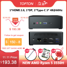 TOPTON Mini PC AMD Ryzen R7 2700U R3 2200U Vega graficzny 2 * DDR4 M.2 NVMe komputer do gier komputer Windows 10 4K HTPC HDMI2.0 DP AC WiFi