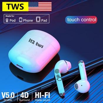 Auriculares inalámbricos AirPods i12 TWS con Bluetooth, auriculares Air HiFi con caja de carga para teléfonos inteligentes iPhone y Android