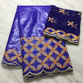 2020 African Fabric Tissu Bazin Riche Getzner With Stones Blue Color Brode Getzner With 2Yards French Net Lace For Weeding Party